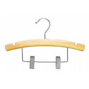 "10"" Notched Outfit Display Natural Wooden Baby Hanger"
