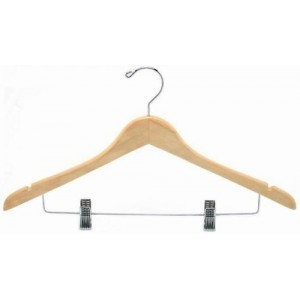 "17"" Classic Curved Wooden Hanger w/ Clips"