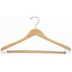 Professional Suit Hanger w/ Wooden Locking Pants Bar