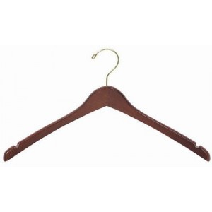 Curved Luxury Walnut Wooden Top Hanger