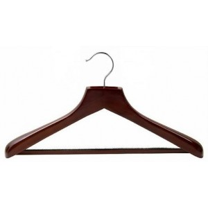 Ultimate Wide Walnut/Chrome Suit Hanger w/ Vinyl Covered Pant Bar