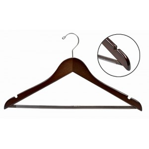 Space Saver Walnut/Chrome Smart Suit Hanger w/ Vinyl Covered Pant Bar