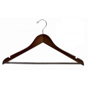 Big & Tall Space Saver Walnut/Chrome Smart Suit Hanger