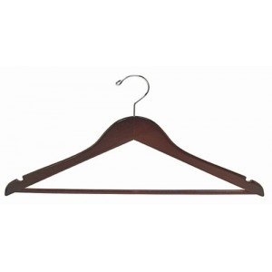 "15"" Petite & Small Walnut/Chrome Space Saver Smart Suit Hanger"