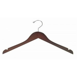 "15"" Petite & Small Walnut/ChromeSpace Saver Smart Hanger"
