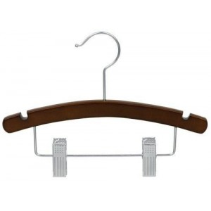 "12"" Notched Outfit Display Walnut/Chrome Wooden Children's Hanger"