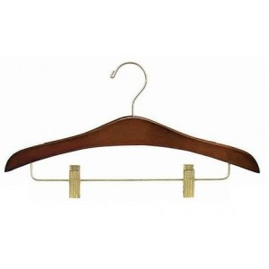 "16"" Space Saver Deluxe Walnut Outfit Hanger w/ Clips"
