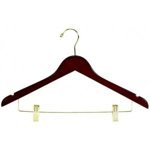 "17"" Space Saver Walnut Hanger w/ Clips"