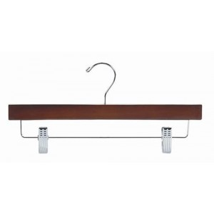 "14"" Secure Walnut/Chrome Pant & Skirt Hanger"