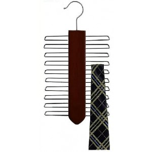 Space Saver Walnut/Chrome Wooden Tie Organizer