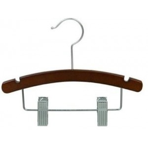 "Walnut 10"" Combination Hanger w/ Clips"