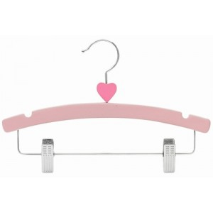 "12"" Decorator's Choice Pink Heart Outfit Display Wooden Children's Hanger"
