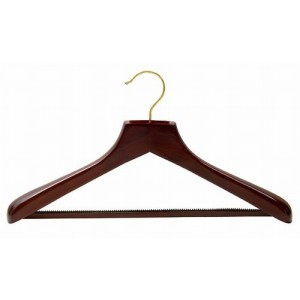 Ultimate Wide Walnut Suit Hanger w/ Vinyl Covered Pant Bar