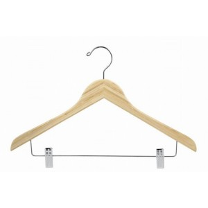 Earth Friendly Bamboo Space Saver Smart Hanger w/ Clips