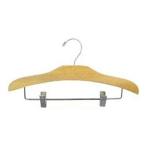 "12"" Elegant Outfit Display Natural Wooden Children's Hanger"