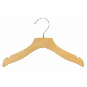 "12"" Curvy Notched Natural Wooden Children's Shirt/Coat Hanger"