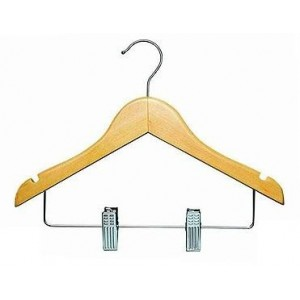 "11"" Notched Natural Wooden Children's Outfit Hanger"