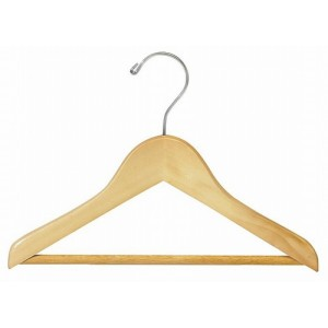 "11"" Classic Natural Wooden Children's Suit Hanger w/ Bar"