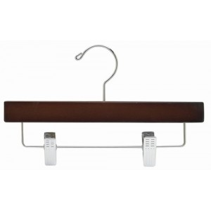 "11"" Walnut/Chrome Wooden Children's Pant/Skirt Hanger"