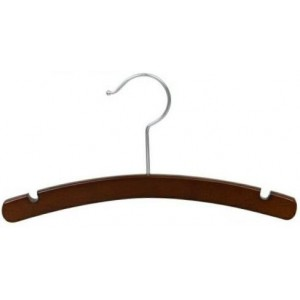 "12"" Notched Walnut/Chrome Wooden Children's Shirt/Coat Hanger"