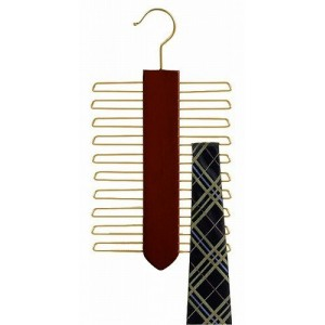 Space Saver Walnut Wooden Tie Organizer